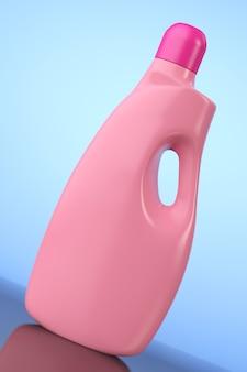 Bottiglia di plastica contenitore detersivo su sfondo blu. rendering 3d