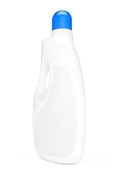 Bottiglia di plastica contenitore detersivo su sfondo bianco. rendering 3d