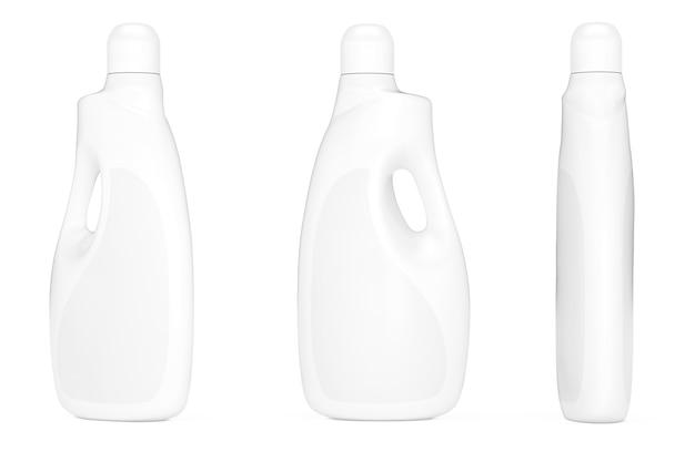 Bottiglie di plastica contenitore detersivo su sfondo bianco. rendering 3d