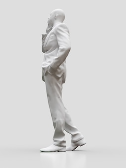 Figura di plastica di un uomo di colore in un vestito che parla al telefono. rendering 3d.