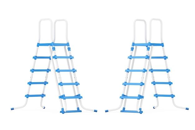 Scalette in plastica per piscina all'aperto su sfondo bianco. rendering 3d.
