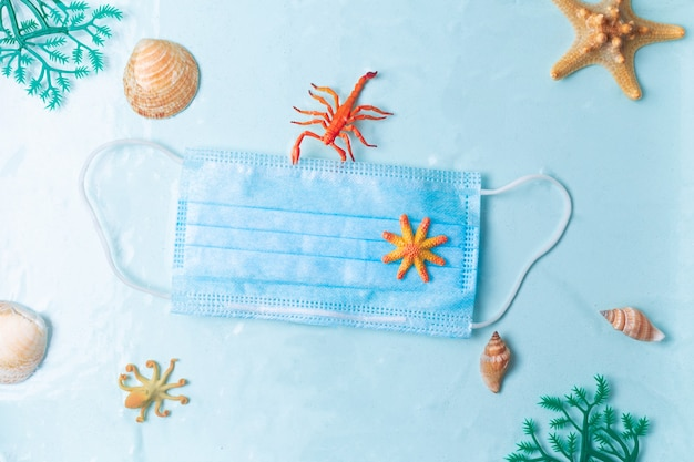 Inquinamento dei rifiuti di plastica nel mare dal coronavirus covid pandemia maschera facciale galleggiante sotto il concetto di superficie dell'acqua foto di alta qualità quality