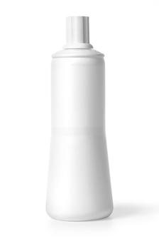 Bottiglia di plastica bianca isolata su bianco