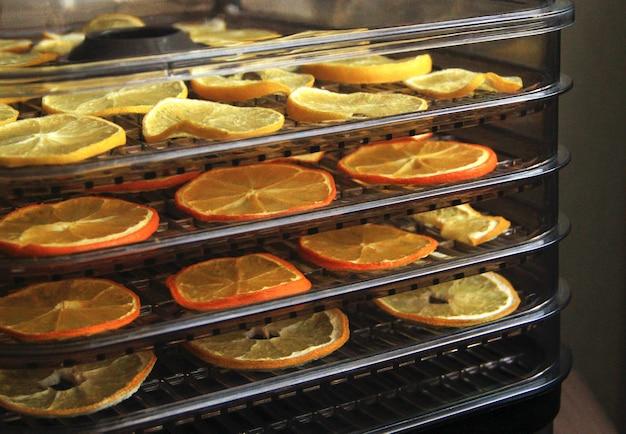 Plastica di frutta arancia e limone in un essiccatore disidratatore