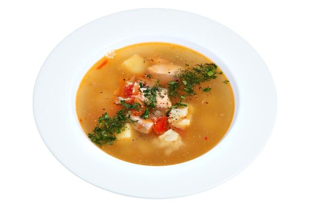 Zuppa di pesce piatto, piatto cucina russa, isolato su sfondo bianco.