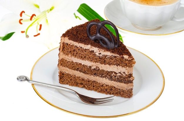 Piastra con porzione di deliziosa torta fatta in casa decorata con cioccolato