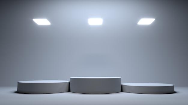 Piattaforma che onora le prime tre illustrazioni 3d