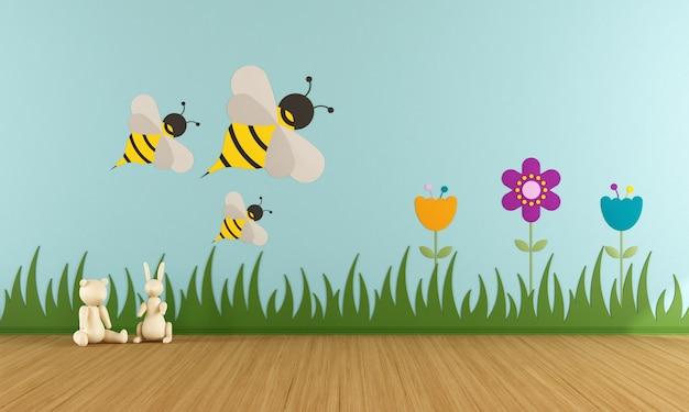 Sala giochi con decorazioni colorate sulla parete. rendering 3d