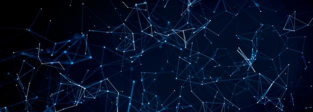Linee del plesso con punti e raggi di luce. sfondo astratto di tecnologia, scienza e tecnologia.