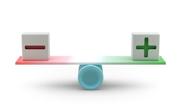 Più e meno nel concetto di equilibrio. rendering 3d