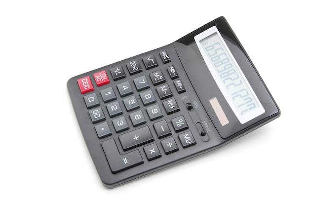 Calcolatrice tascabile su sfondo bianco