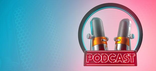 Podcast 3d microfono cerchio blu nome rosso