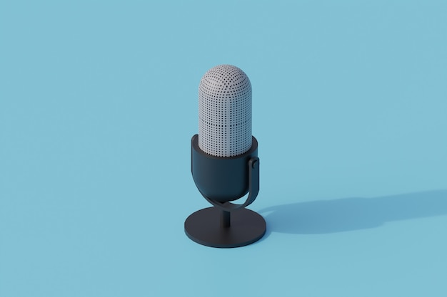 Podcast singolo oggetto isolato. 3d render illustrazione isometrica