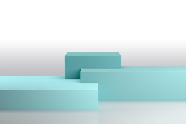 Podio in composizione astratta blu, rendering 3d