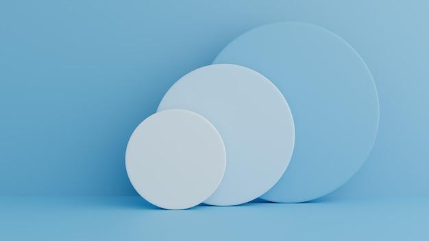 Podio in composizione blu astratta