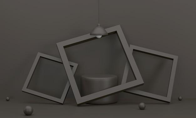 Podio cerchio nero è in una cornice 3 pezzi appoggiata a una lampada da parete in studio