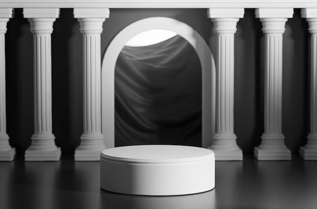 Podio luminoso nero brillante porta colonne classiche pilastri colonade rendering 3d