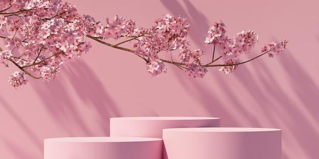 Podio e fiori di ciliegio con sfondo rosa chiaro naturale per la presentazione del prodotto 3d rendering