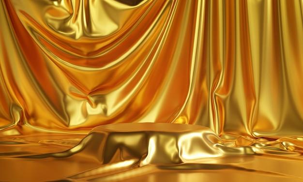 Podio ricoperto di stoffa d'oro rendering 3d di spazio vuoto