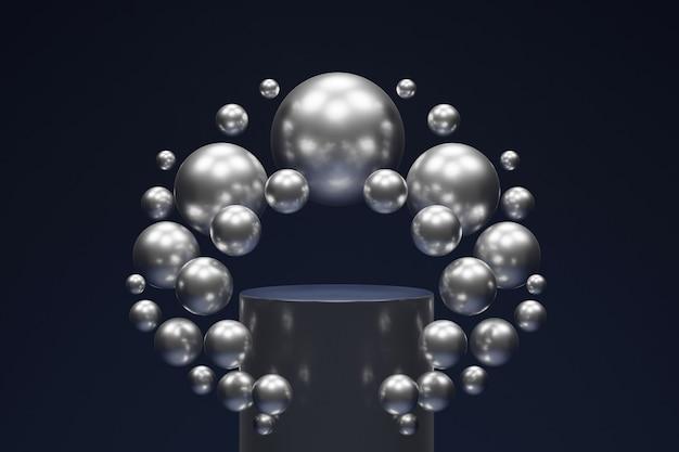 Podio su un tavolo blu scuro, circondato da palline d'argento, rendering 3d