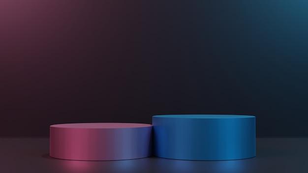 Podio display 3d render blu rosa su sfondo nero