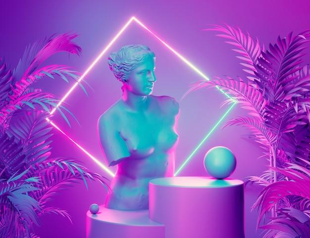 Display sul podio con neon incandescente viola e blu