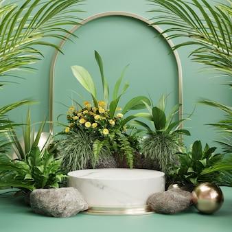 Espositore da podio con sfondo foglia tropicale, parete verde, rendering 3d
