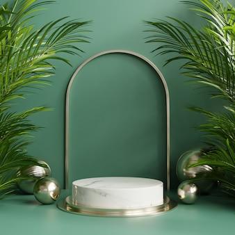 Espositore da podio con sfondo foglia tropicale / verde parete.