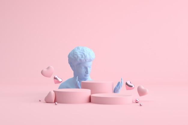 Podio di palloncini cuore e scultura umana, presentazione del prodotto.