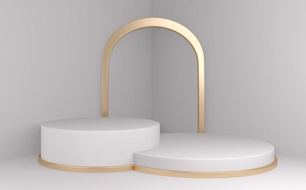 Podio minimal geometrico bianco e pavimento dorato astratto