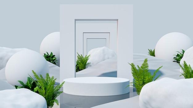 Esposizione del modello del podio sul deserto con per la presentazione del prodotto, rendering 3d