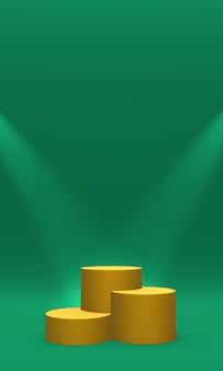 Podio, piedistallo o piattaforma color oro illuminato da faretti su sfondo verde. illustrazione astratta di semplici forme geometriche. rendering 3d.