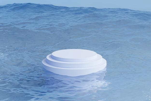 Podio o piedistallo per prodotti o pubblicità su sfondo blu con onde del mare, rendering minimo di illustrazione 3d