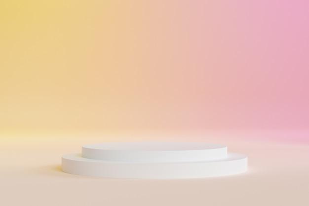 Podio o piedistallo per prodotti o pubblicità su sfondo giallo e rosa sfumato, rendering minimo di illustrazione 3d