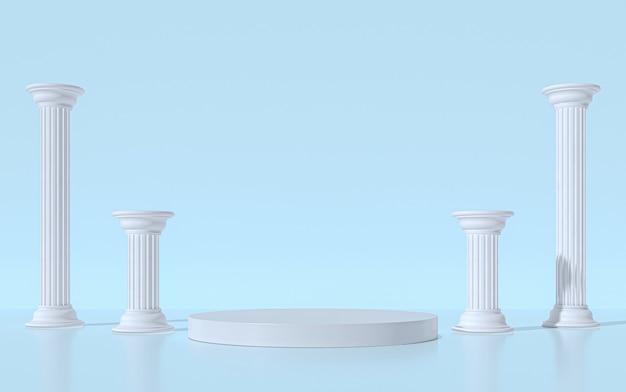Piedistallo podio con colonne in stile greco. rendering 3d