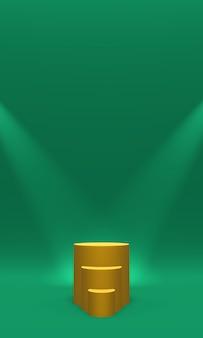 Podio o piattaforma color oro illuminato da faretti su verde, rendering 3d