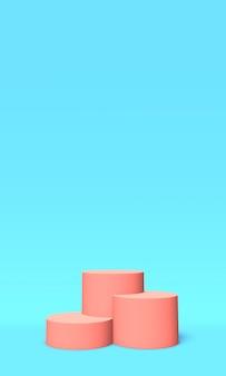 Podio o piattaforma di colore rosa su blu