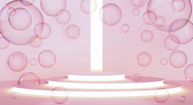 Podio o piattaforma per la presentazione del prodotto contro pareti rosa con bolle di sapone intorno