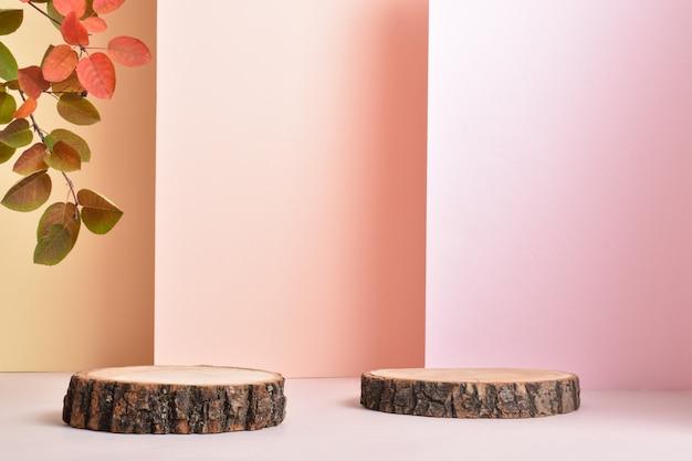 Podio per la presentazione del prodotto. una scena minimalista di un albero abbattuto con un ramo su uno sfondo rosa. branding di prodotti naturali. un luogo da copiare.