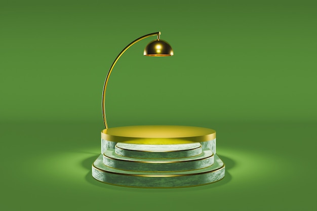 Podio per presentazione prodotto con lampada dorata e scale in seta con sfondo verde