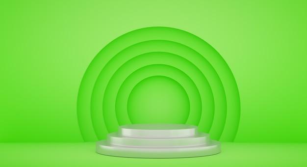 Podio per la presentazione del prodotto con cerchi gialli, sfondo rendering 3d