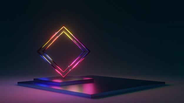 Podio, palcoscenico 3d sfondo blu, effetto luminoso, stile trama astratta, può essere utilizzato nella copertina, nella progettazione del libro, nel poster, nel volantino, nello sfondo del sito web o nella pubblicità.
