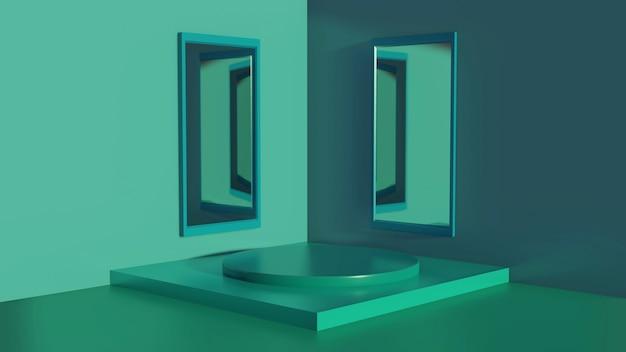 Podio, sfondo verde palco 3d, con effetto specchio, stile trama astratta, può essere utilizzato in copertina, design di libri, poster, flyer, sfondo del sito web o pubblicità.