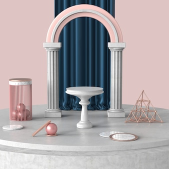Palco sul podio per spettacolo prodotto o cosmetico su pavimento in cemento e marmo con tenda blu royal dietro la scena