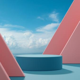 Il palco del podio sta forme astratte su un cielo blu e nuvole di sfondo pesca