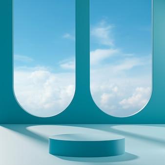 Palco del podio su uno sfondo blu con cielo azzurro e nuvole in una giornata di sole