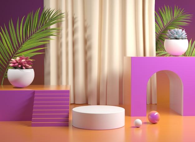 Palco podio con gradiente colorato con piante rendering 3d