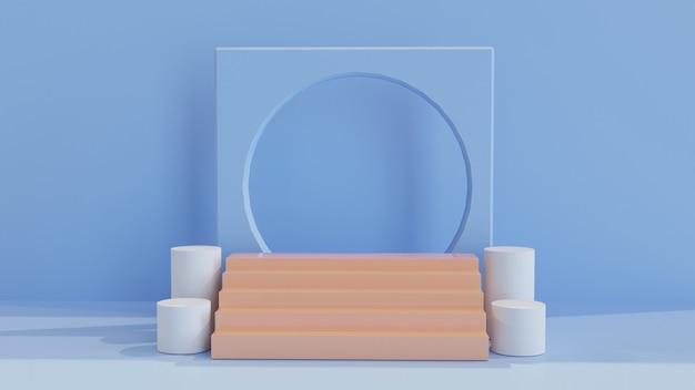 Scale sul podio con ornamenti 3d per la vetrina del prodotto