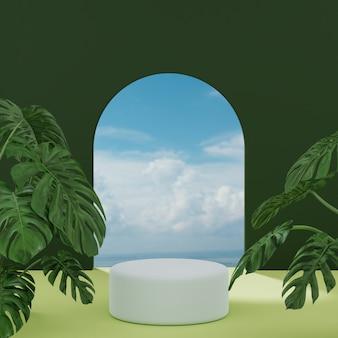 Basamento del podio su tropicale blu bianco