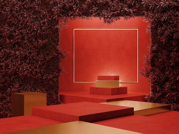 Sfondo del muro del podio e concetto di scena rossa del giardino verticale 3d rendering